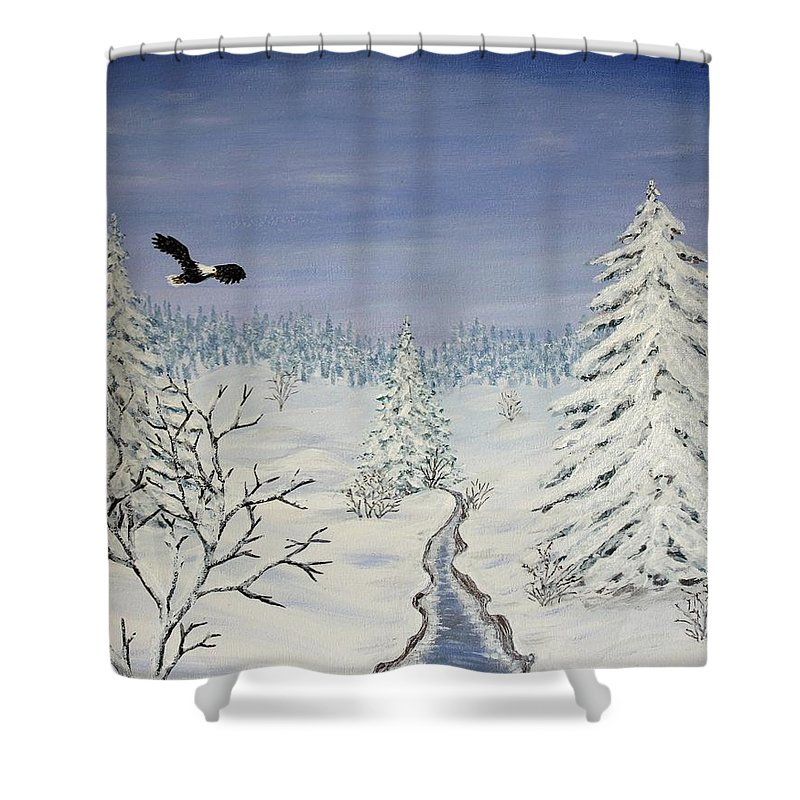 Flying Eagle Acrylic Painting Shower Curtain featuring the painting Eagle On Winter Lanscape by Georgeta Blanaru