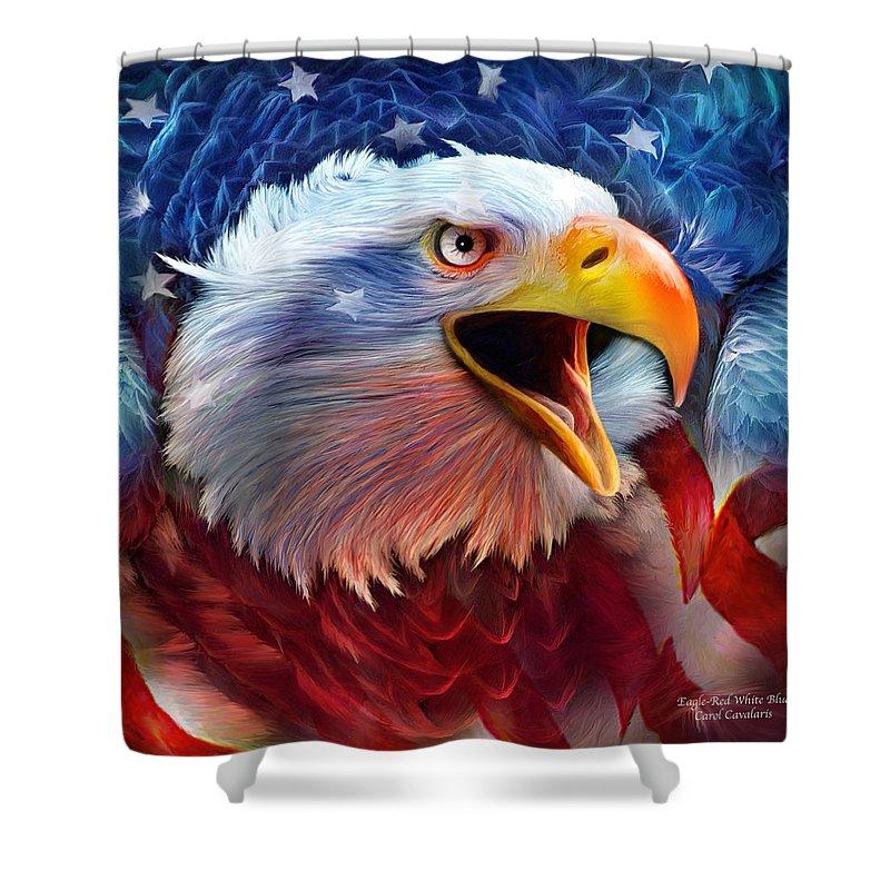 Carol Cavalaris Shower Curtain Featuring The Mixed Media Eagle Red White  Blue 2 By Carol Cavalaris