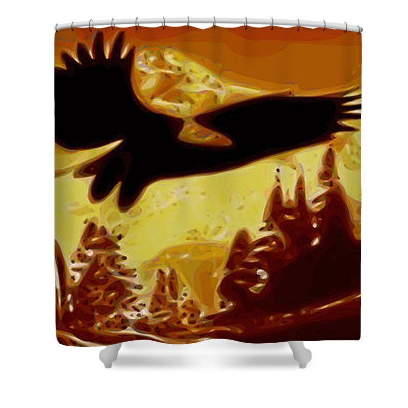 Eagle Shower Curtain featuring the digital art Eagle by Sandstone Inc