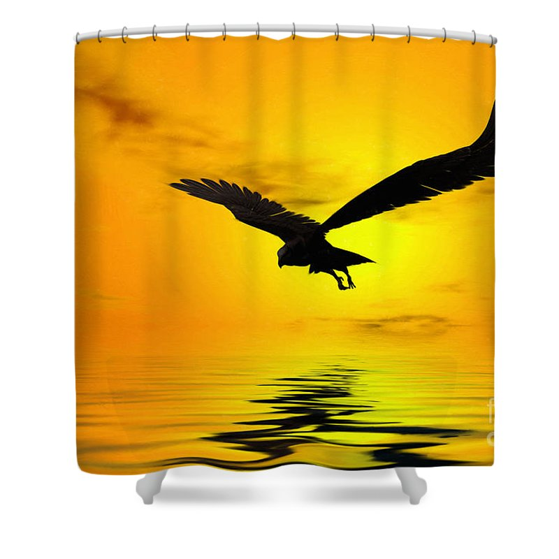 Eagle Sunset Canvas Shower Curtain featuring the digital art Eagle Sunset by John Edwards