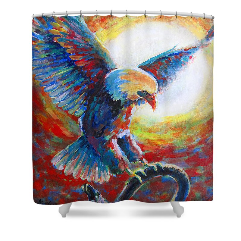 Prophetic Art Shower Curtain featuring the painting Eagle Takes Charge by Tamer and Cindy Elsharouni