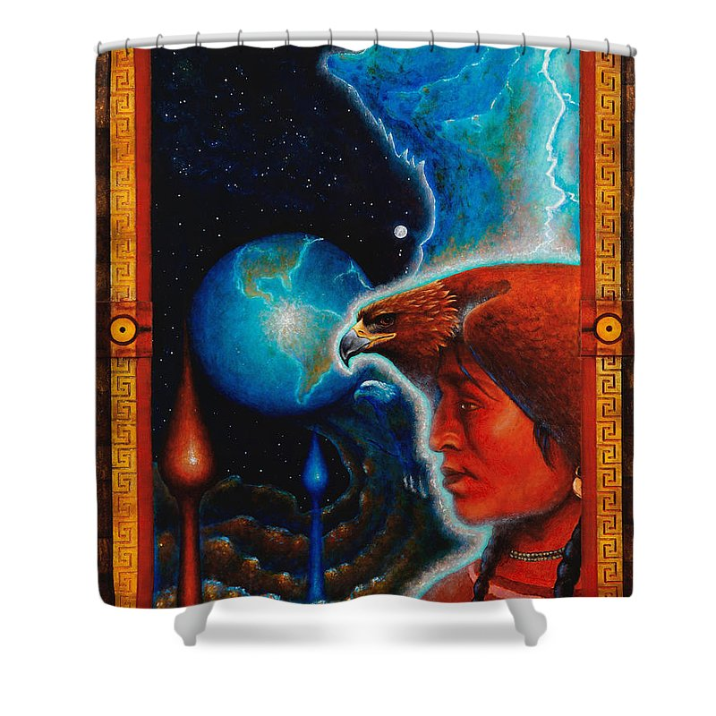 Native American Shower Curtain featuring the painting Eagle's Roost by Kevin Chasing Wolf Hutchins