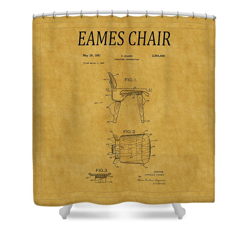 Eames Shower Curtain featuring the photograph Eames Chair Patent 1 by Andrew Fare