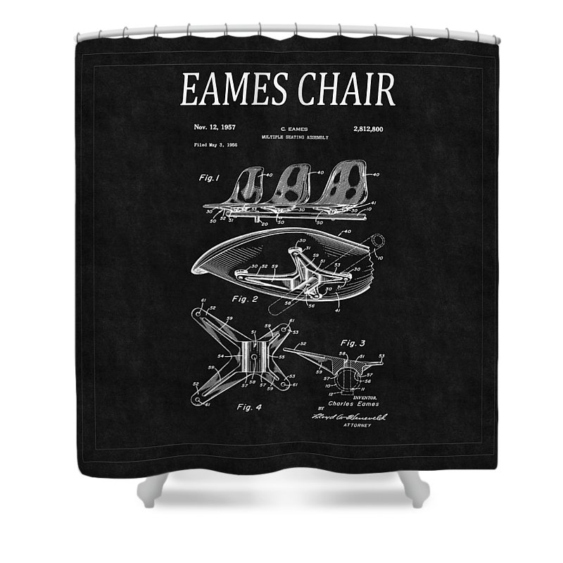 Eames Shower Curtain featuring the photograph Eames Chair Patent 4 by Andrew Fare