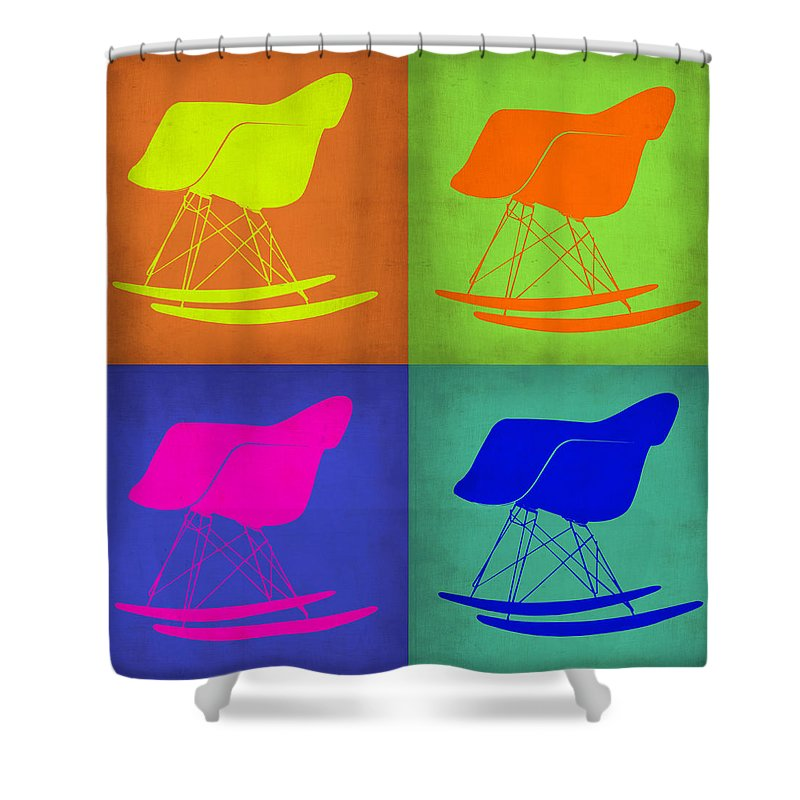 Eames Rocking Chair Shower Curtain featuring the painting Eames Rocking Chair Pop Art 1 by Naxart Studio