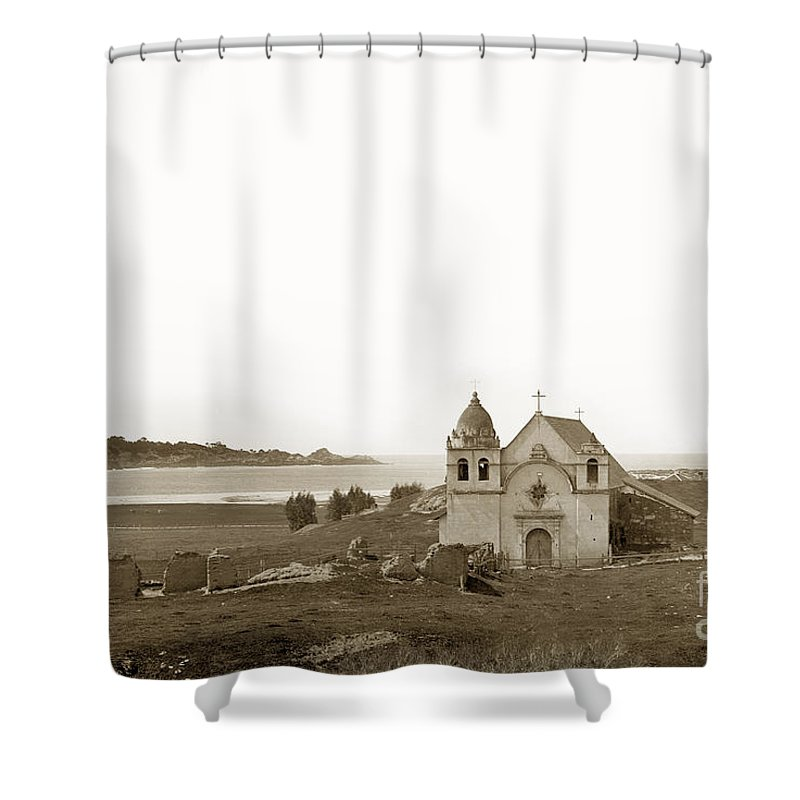 Carmel Shower Curtain featuring the photograph Early Carmel Mission And Point Lobos California Circa 1884 by California Views Archives Mr Pat Hathaway Archives