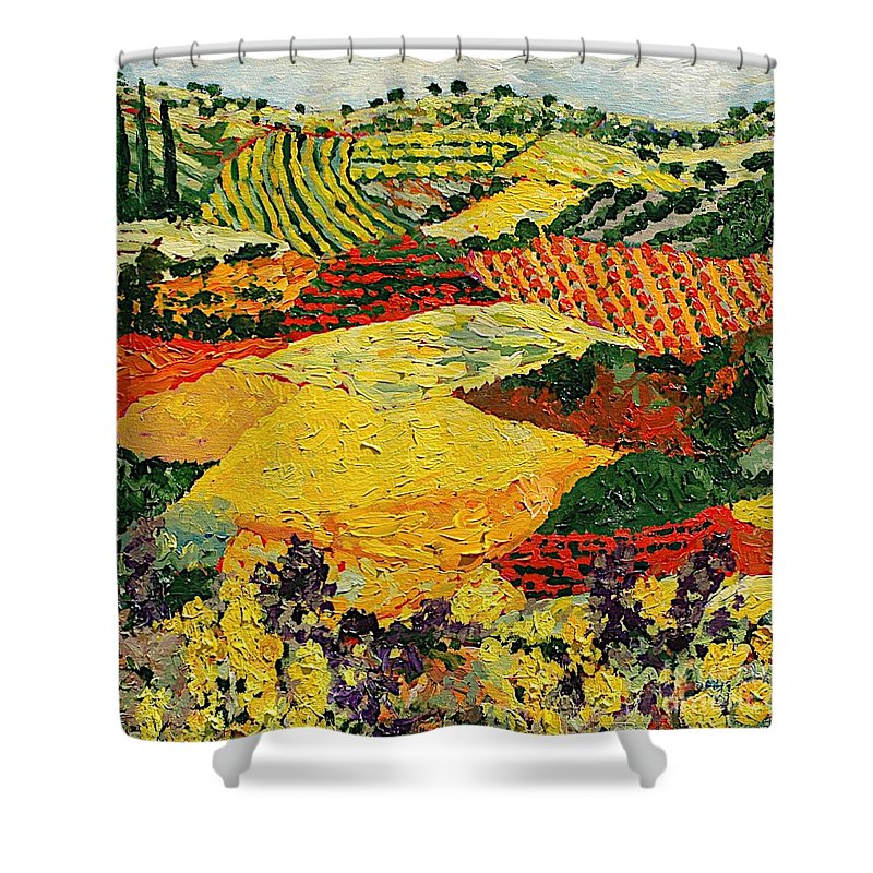 Landscape Shower Curtain featuring the painting Early Clouds by Allan P Friedlander