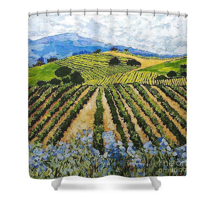 Landscape Shower Curtain featuring the painting Early Crop by Allan P Friedlander