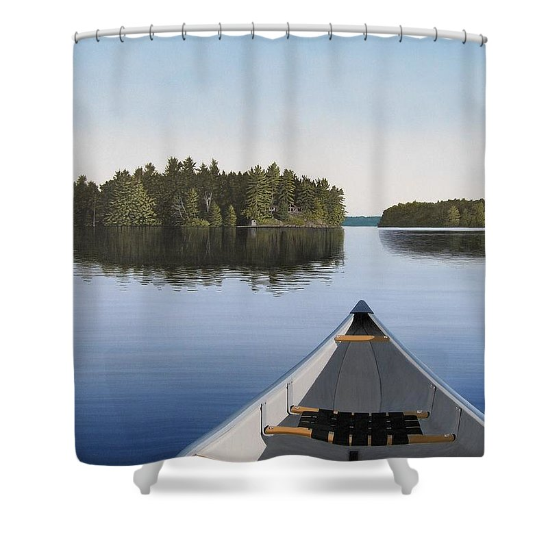 Canoe Shower Curtain featuring the painting Early Evening Paddle Aka Paddle Muskoka by Kenneth M Kirsch
