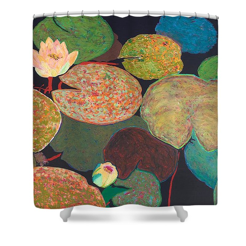 Landscape Shower Curtain featuring the painting Early Mist by Allan P Friedlander