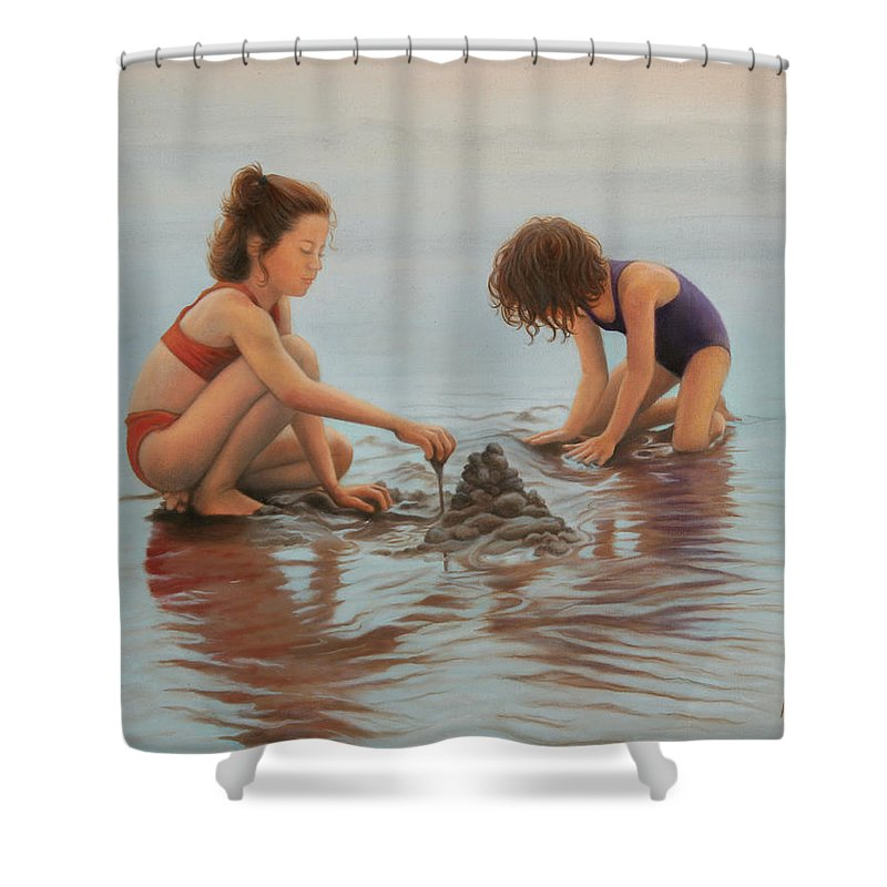 Realistic Shower Curtain featuring the painting Early Morning Architects by Holly Kallie