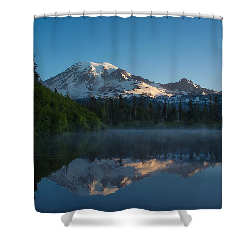Mount Rainier Shower Curtain featuring the photograph Early Morning At Mount Rainier by Mike Reid