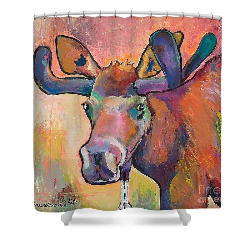 Pat Saunders-white. Saunders-white Shower Curtain featuring the painting Early Morning Browser by Pat Saunders-White