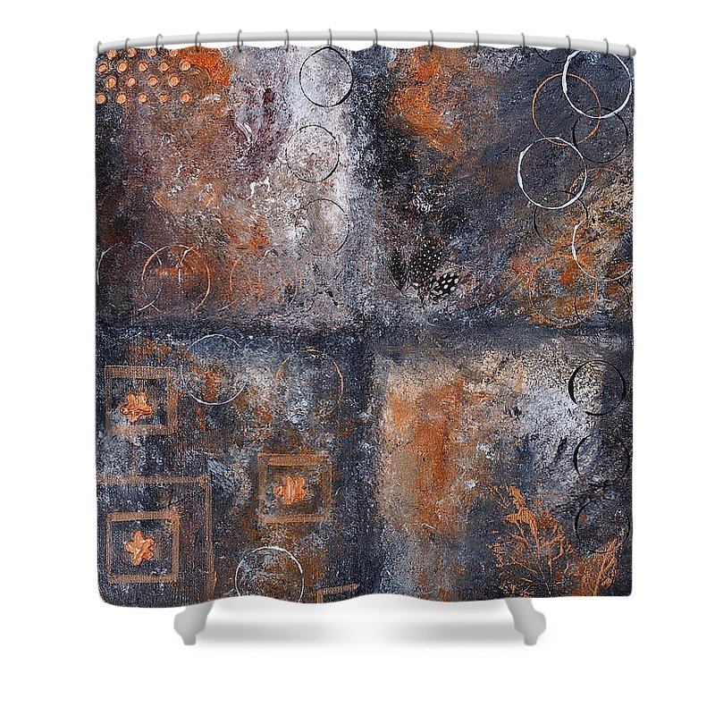 Abstract Shower Curtain featuring the painting Earth 1 by Wendy Provins