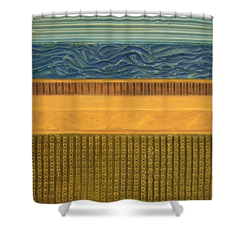 Abstract Shower Curtain featuring the painting Earth Layers Abstract L by Michelle Calkins