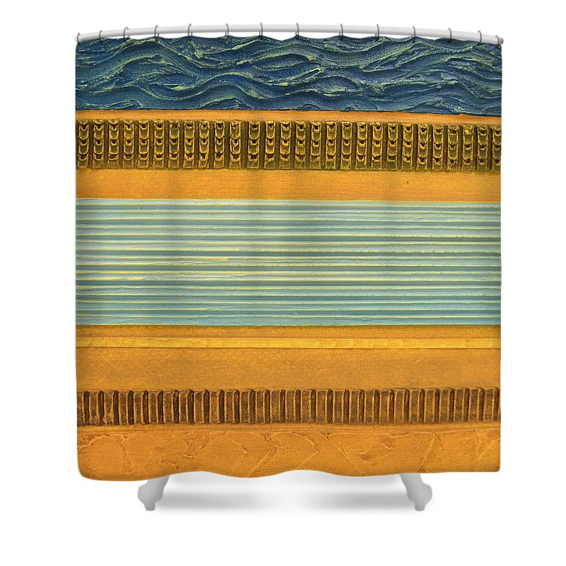 Abstract Shower Curtain featuring the painting Earth Layers Abstract Ll by Michelle Calkins