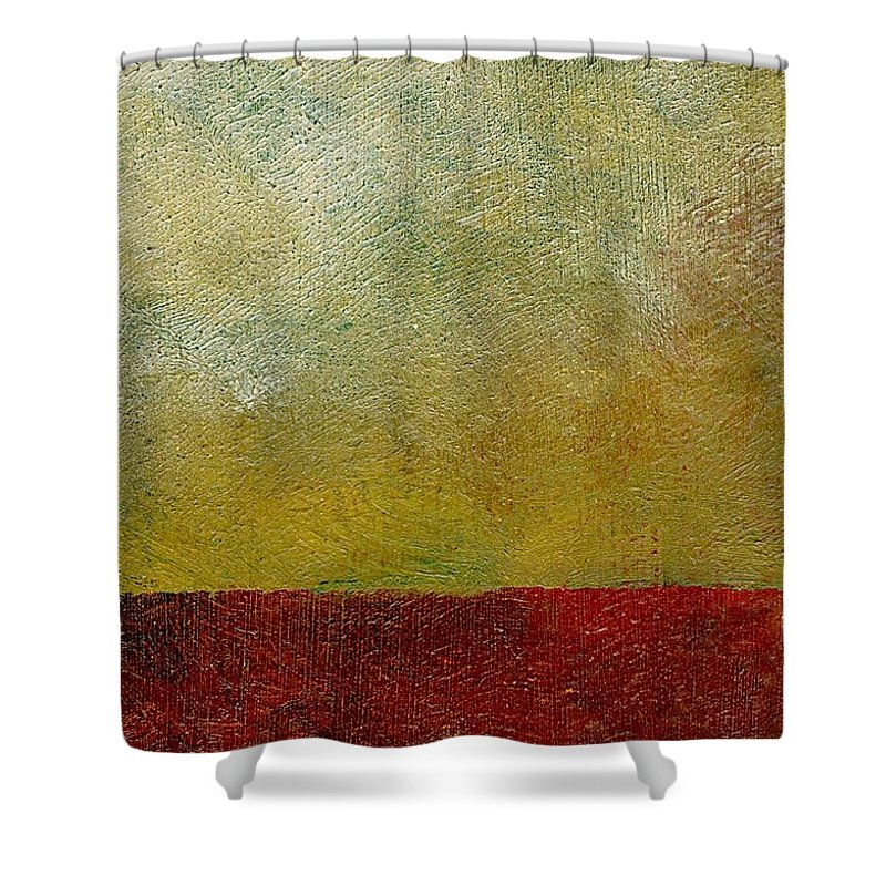 Abstract Landscape Shower Curtain featuring the painting Earth Study One by Michelle Calkins