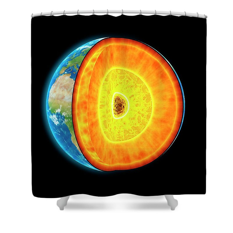 Shadow Shower Curtain featuring the digital art Earths Internal Structure, Artwork by Science Photo Library - Andrzej Wojcicki