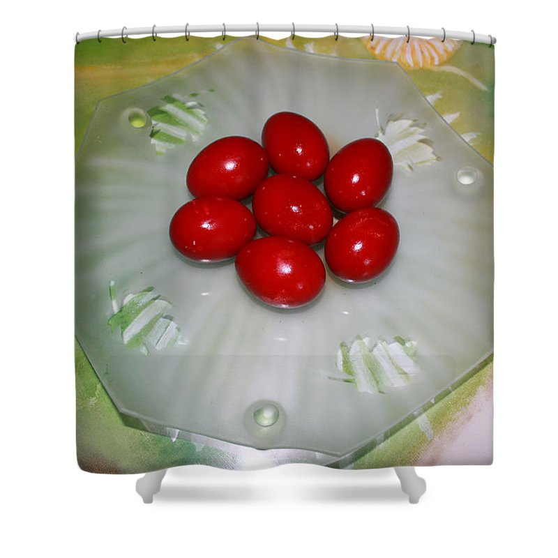 Augusta Stylianou Shower Curtain featuring the photograph Easter And Red Eggs by Augusta Stylianou