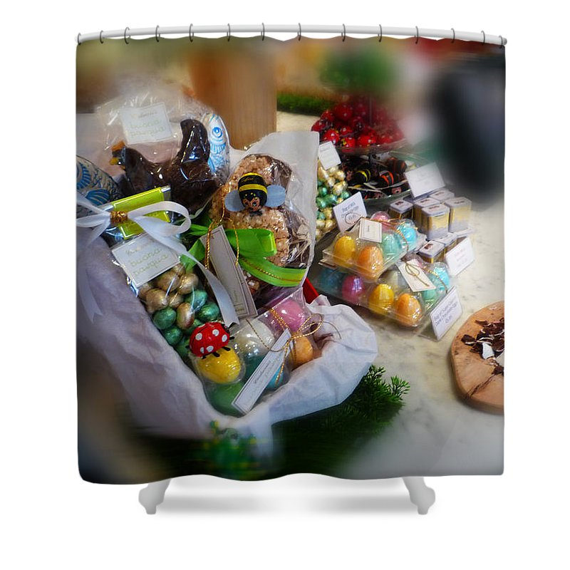 Easter Shower Curtain featuring the painting Easter Chocolate by Charles Stuart