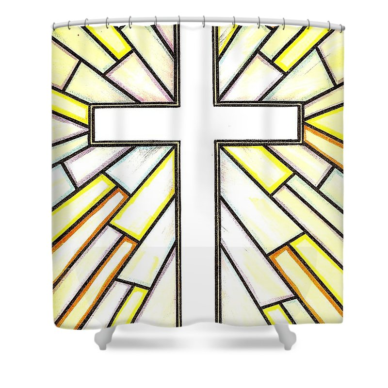 Cross Shower Curtain featuring the painting Easter Cross 3 by Jim Harris