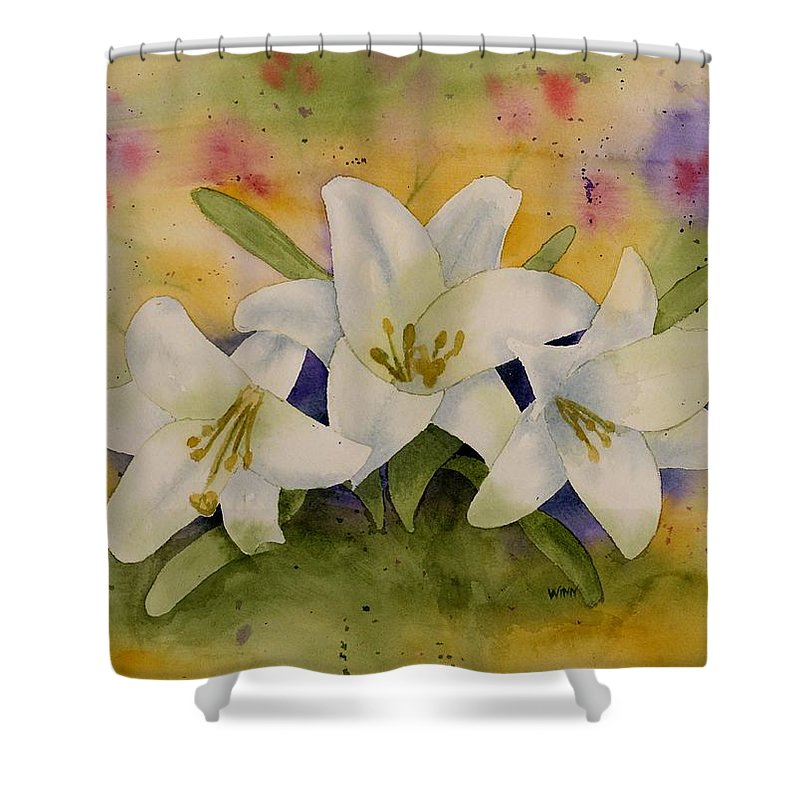 Watercolor Shower Curtain featuring the painting Easter Lilies by Brett Winn