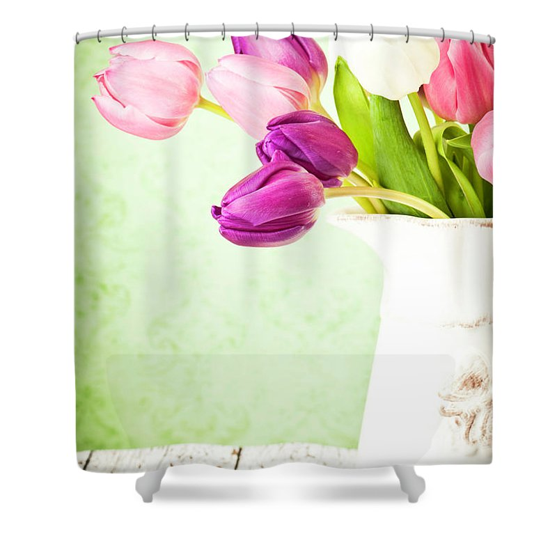 Mother's Day Shower Curtain featuring the photograph Easter Tulips And Copy Space by Catlane