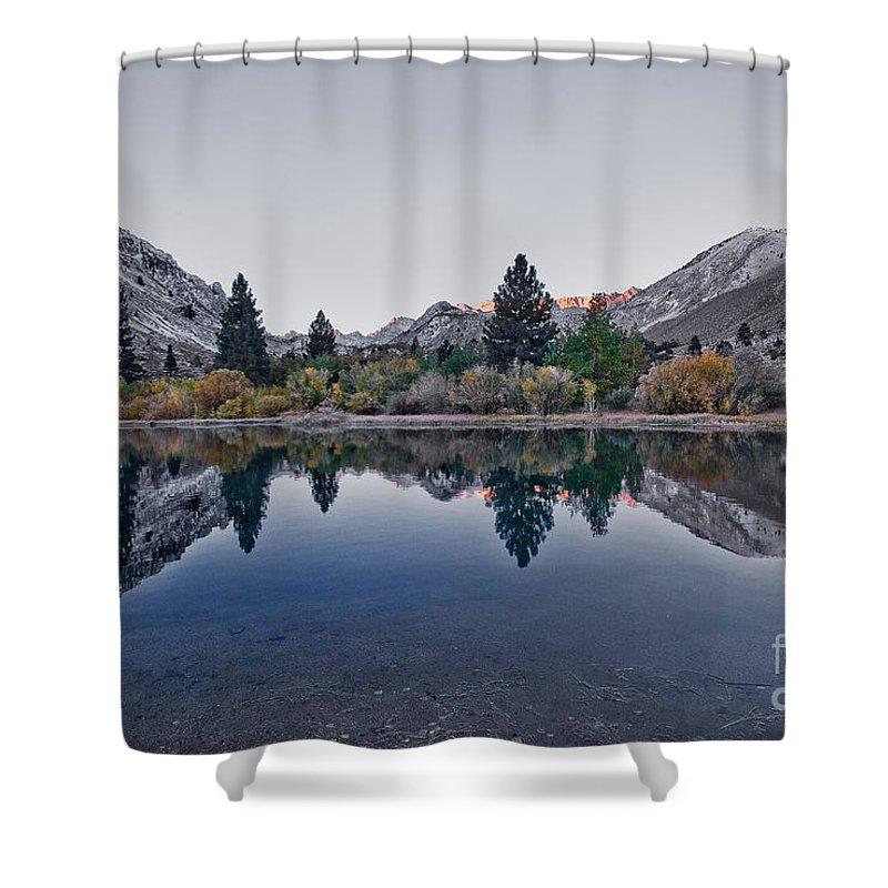 Eastern Sierra Reflection Shower Curtain featuring the photograph Eastern Sierras Reflection by Mae Wertz