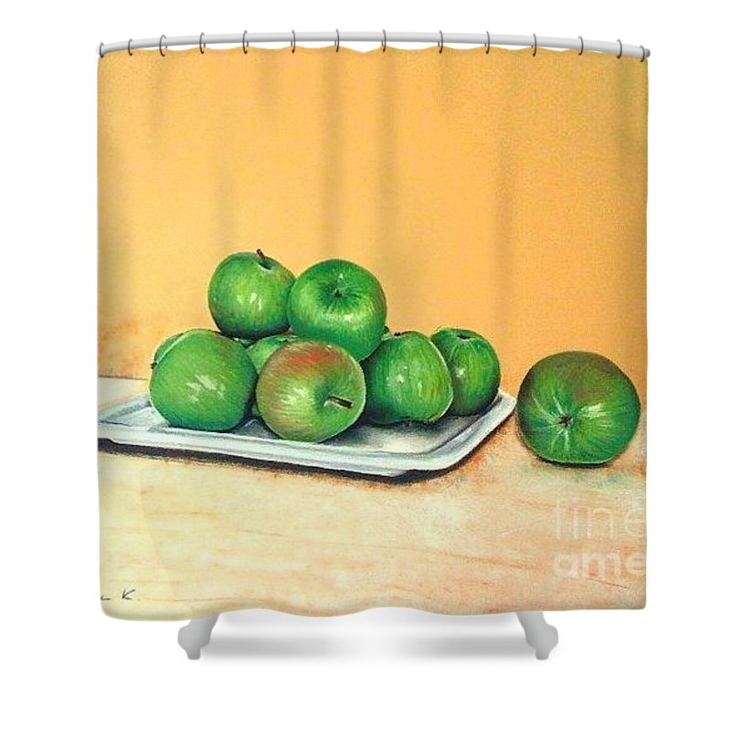 Apples Shower Curtain featuring the pastel Eat Green by Katharina Filus