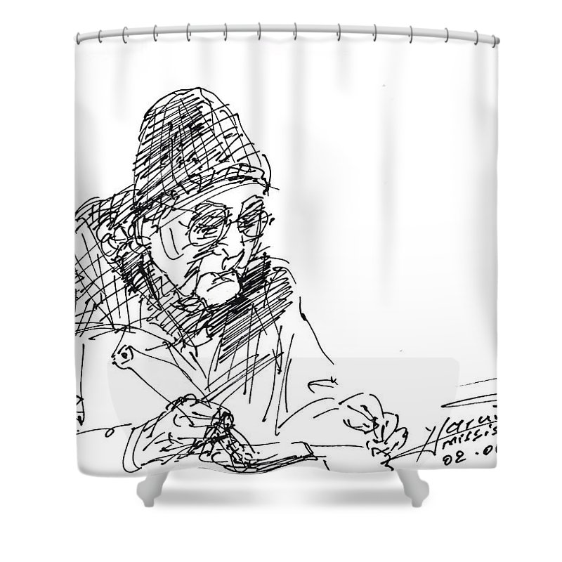 Sketch Shower Curtain featuring the drawing Eating by Ylli Haruni