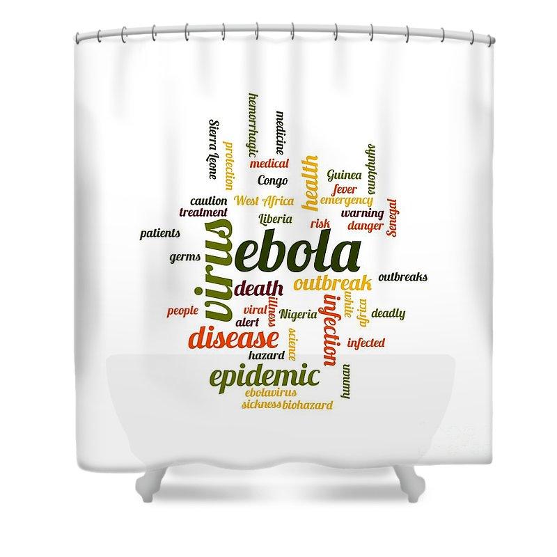 Ebola Shower Curtain featuring the digital art Ebola by Henrik Lehnerer