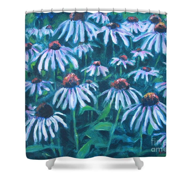 Flowers Shower Curtain featuring the painting Echinacea by Jan Bennicoff