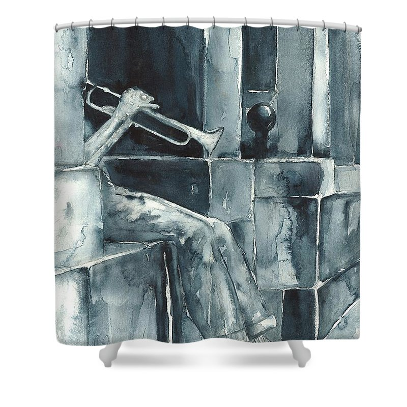 Original Wc 15x12 Shower Curtain featuring the painting Echo Of The Spirit by Sherry Harradence