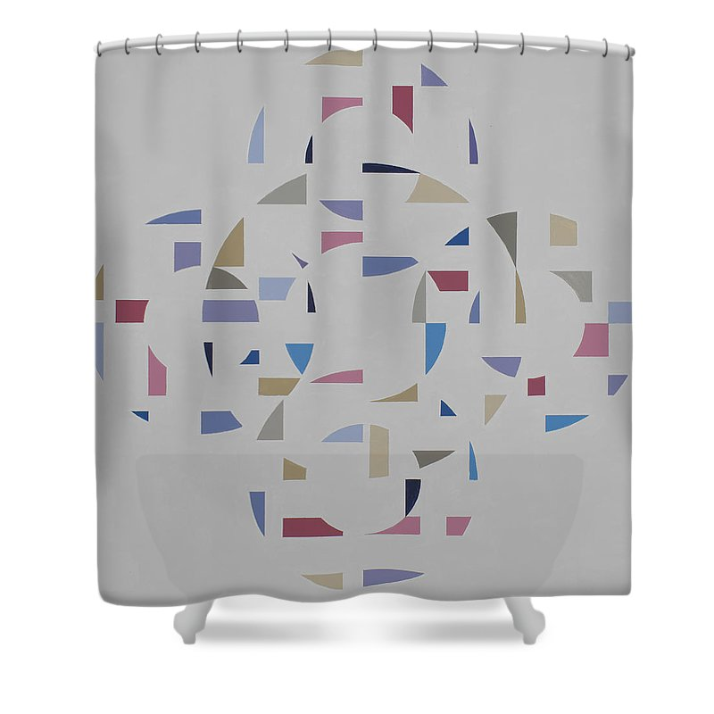 Abstract Geometric Optic Painting Shower Curtain featuring the painting Ecliptic #2 by Marston A Jaquis