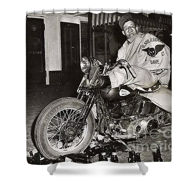 Eddie Davenport Shower Curtain featuring the photograph Eddie Davenport Of Tulare California On A Motorcycle Hollister July 7 1947 by California Views Mr Pat Hathaway Archives