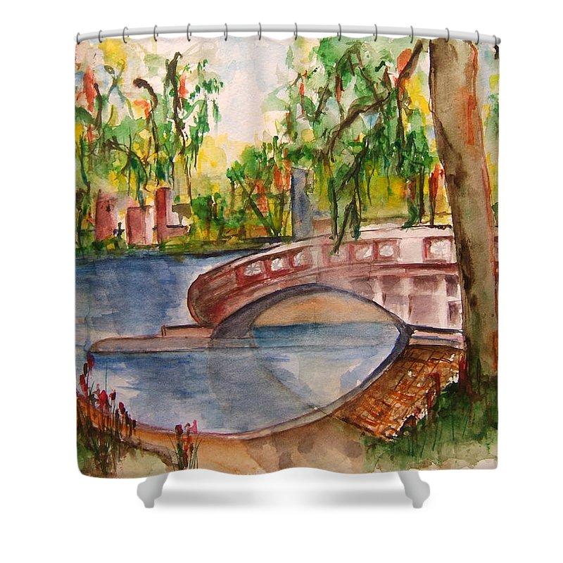 Eden Park Shower Curtain featuring the painting Eden Park Lake by Elaine Duras