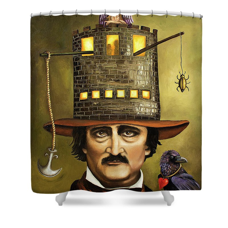 Poe Shower Curtain featuring the painting Edgar Allan Poe by Leah Saulnier The Painting Maniac