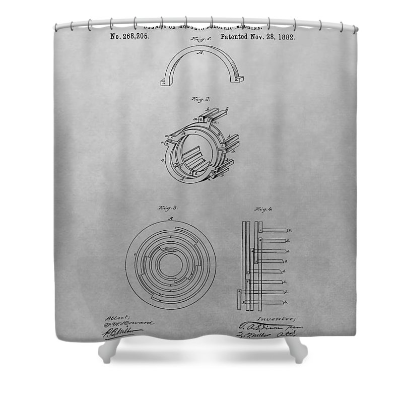 Thomas Edison's Dynamo Magneto Electric Machine Blueprint Patent Shower Curtain featuring the drawing Edison's Electric Generator Patent Drawing by Dan Sproul