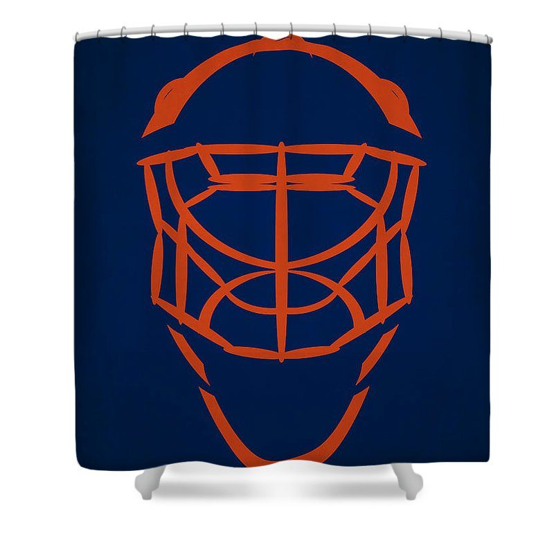 ee3ea5bab Oilers Shower Curtain featuring the photograph Edmonton Oilers Goalie Mask  by Joe Hamilton