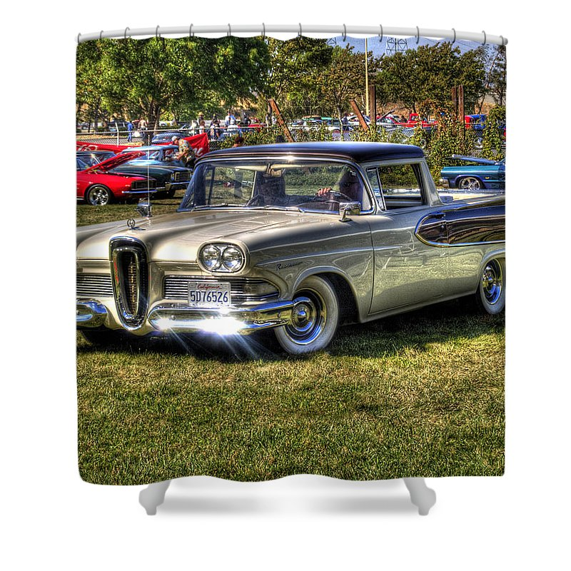 Car Shower Curtain featuring the photograph Edsel Ranchero by Bill Gallagher