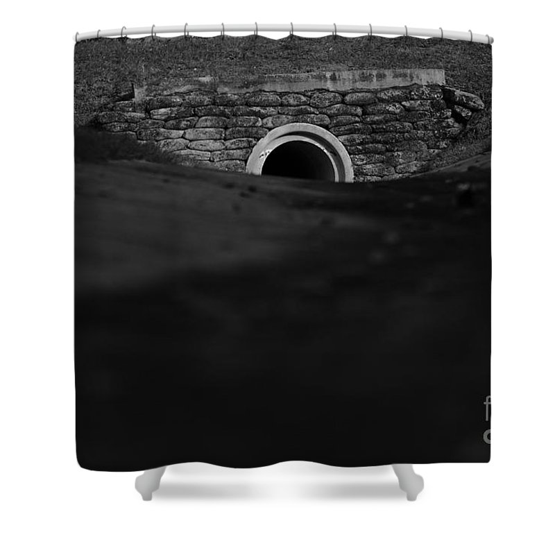 Black & White Shower Curtain featuring the photograph Eerie Tunnel by Vincent Billotto