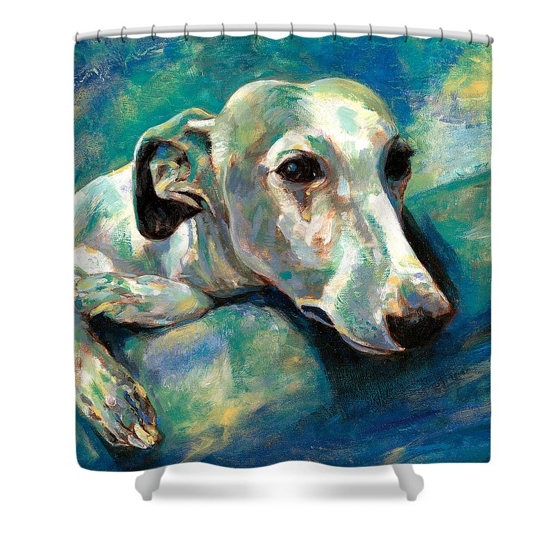 Whippet Paintings Shower Curtain featuring the painting Effects Of Gravity 1 by Derrick Higgins