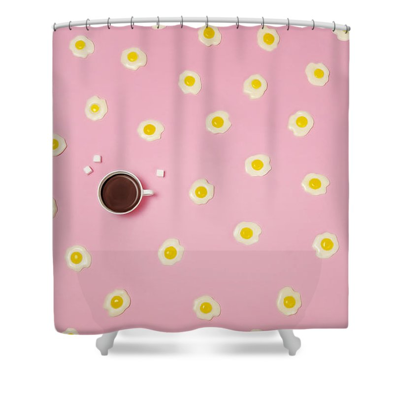 Breakfast Shower Curtain featuring the photograph Eggs With Coffee Cup On Pink Background by Juj Winn