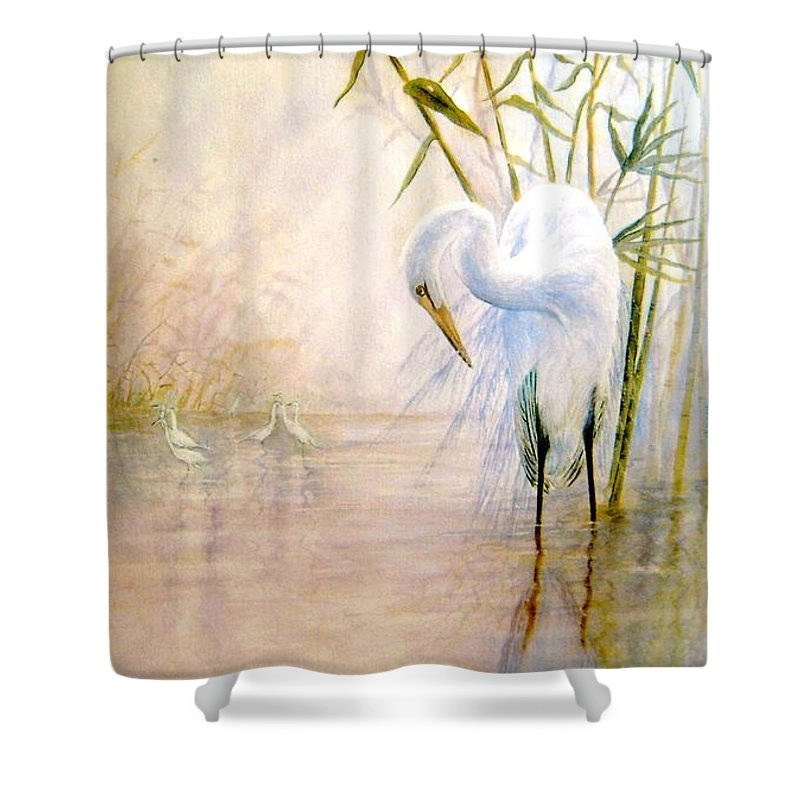 Eret; Bird; Low Country Shower Curtain featuring the painting Egret by Ben Kiger