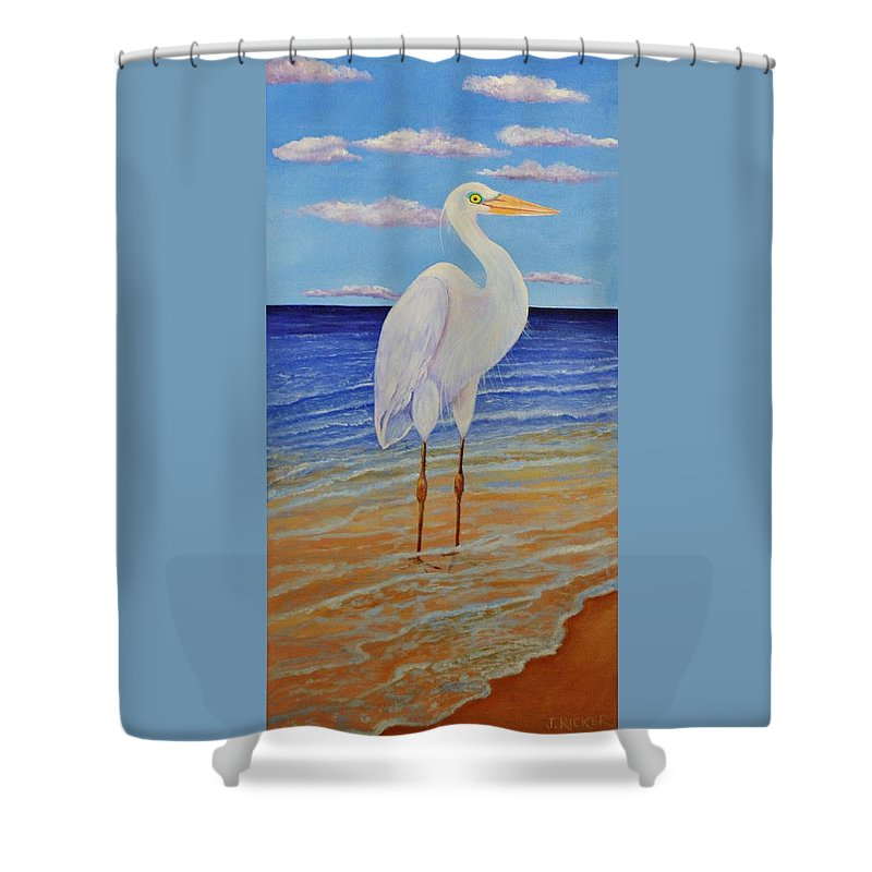 Bird Shower Curtain featuring the painting Eager Egret by Jane Ricker