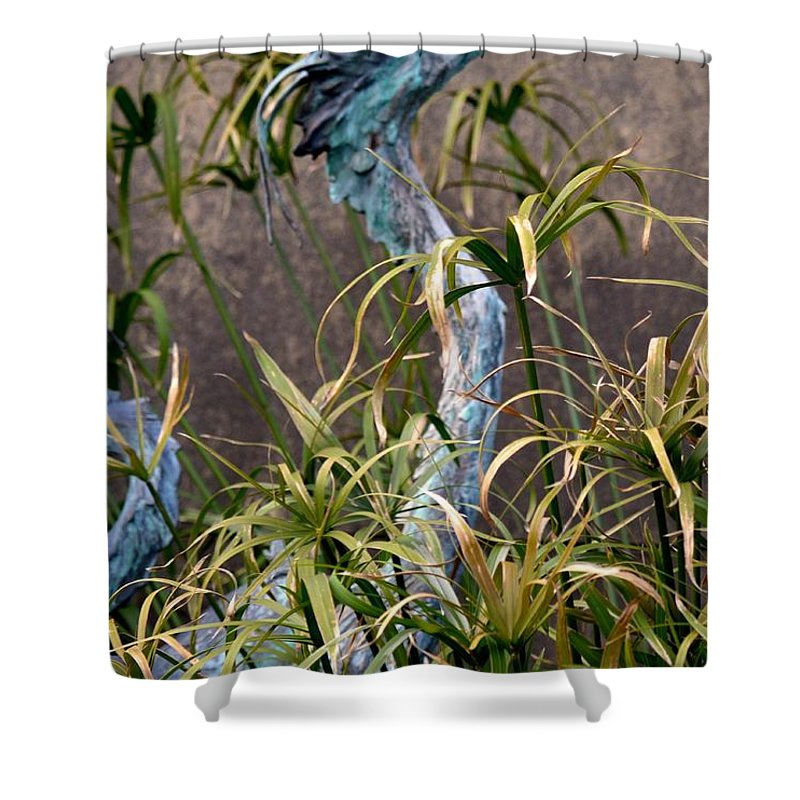 Egret Statue Shower Curtain featuring the photograph Egret Statue by Maria Urso