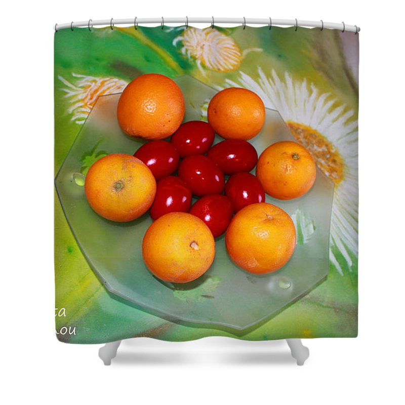 Augusta Stylianou Shower Curtain featuring the photograph Egss Fruits And Flowers by Augusta Stylianou