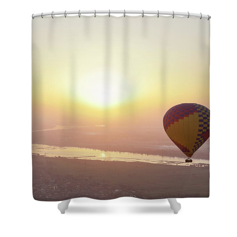 Luxor Shower Curtain featuring the photograph Egypt, View Of Hot Air Balloon Over by Westend61