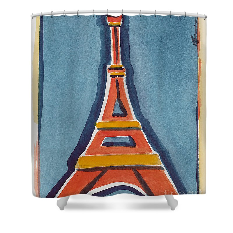 Effel Tower Shower Curtain featuring the painting Eiffel Tower Orange Blue by Robyn Saunders
