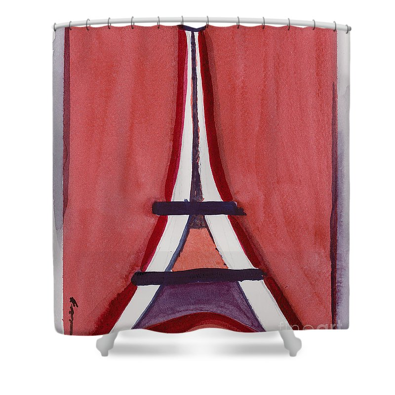 Effel Tower Shower Curtain featuring the painting Eiffel Tower Red White by Robyn Saunders